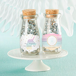 Personalized Vintage Milk Bottle Favor Jar - Enchanted Party (Set of 12)