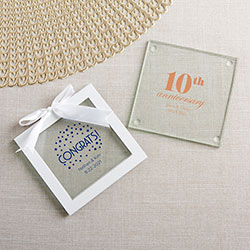 Personalized Glass Coaster - Anniversary (Set of 12)