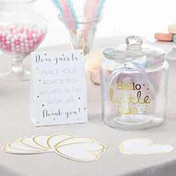 Iridescent Baby Shower Wish Jar with 50 Heart Shaped Cards
