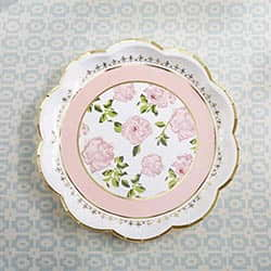 Tea Time Whimsy 9 in. Premium Paper Plates - Pink (Set of 8)