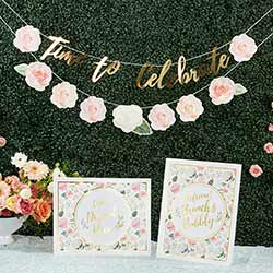 Brunch Floral Brunch Party Decor Kit with Gold Foil