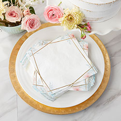 Geometric Floral 2 Ply Paper Napkins (Set of 30)