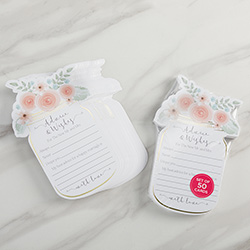 Floral Wedding Advice Card - Mason Jar (Set of 50)
