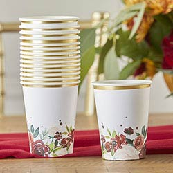 Burgundy Blush 8 oz. Paper Cups (Set of 16)