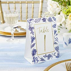 Blue Willow Double Sided Wedding Table Numbers (1-25)