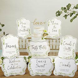 Botanical Garden Décor Sign Kit with Built in Kick Stands (Set of 8)