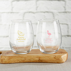 Personalized 9 oz. Stemless Wine Glass - Cheery & Chic