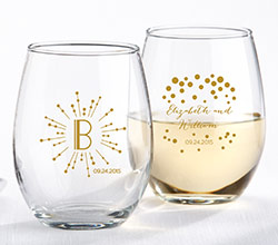 9 oz. Stemless Wine Glass - Milestone Gold