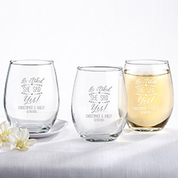 Personalized 9 oz. Stemless Wine Glass – He Asked, She Said Yes