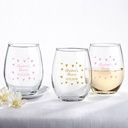 Personalized 9 oz. Stemless Wine Glass - Sweet Heart