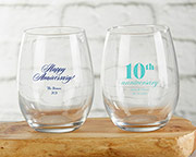 Personalized 15 oz. Stemless Wine Glass - Anniversary