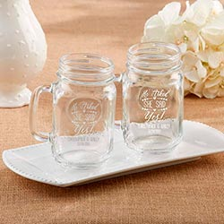 Personalized 16 oz. Mason Jar Mug - He Asked, She Said Yes