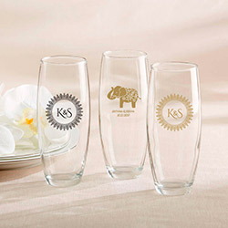 Personalized 9 oz. Stemless Champagne Glass - Indian Jewel