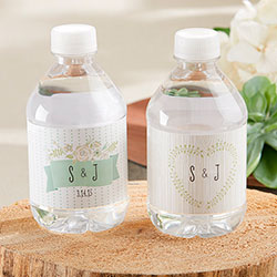 Personalized Water Bottle Labels - Kates Rustic Wedding Collection (Set of 24)