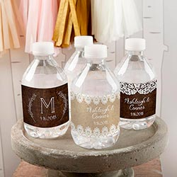Personalized Water Bottle Labels - Rustic Charm Wedding